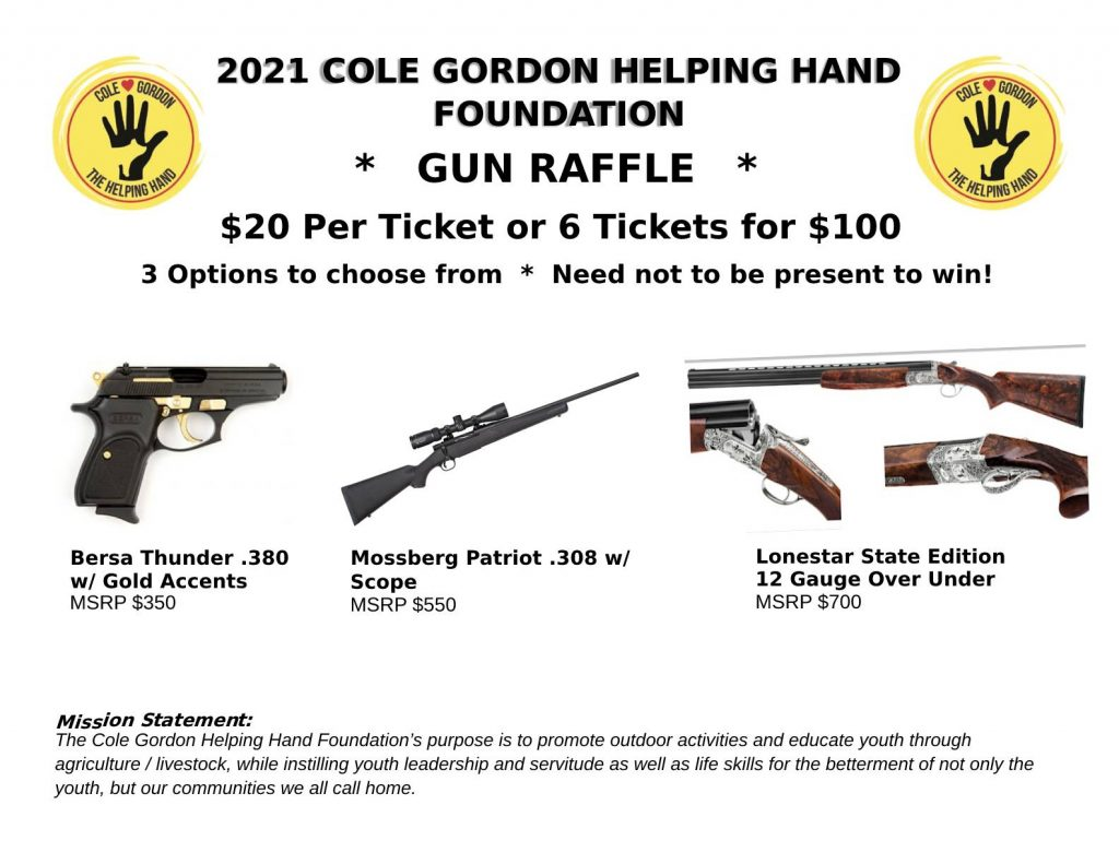 Raffle Tickets for Cole's Clays